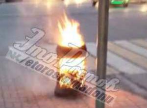 Неожиданно взорвавшийся мусорный бак сфотографировали ростовчане