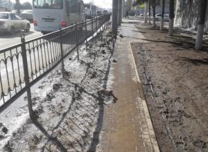 Житель Ростова взбунтовался из-за засыпанного грязным снегом тротуара