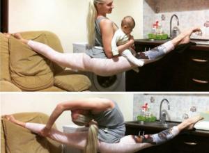 Красавица-блондинка из Ростова показала на фото и видео ошеломляющие трюки с новорожденной дочерью