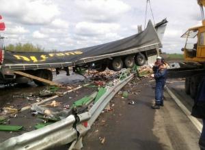 В Ростовской области большегруз «Скания» протаранил отбойник и выехал на встречку