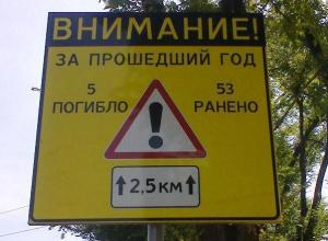 В Ростове на дорогах установили щиты с указанием числа погибших