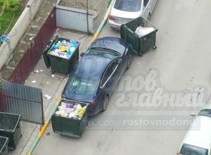 Автохама проучили мусорными контейнерами в Ростове-на-Дону
