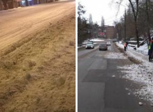 Дорожные войны между водителями и пешеходами спровоцировали уборщики снега в Ростовской области