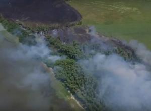 Огромный пожар уничтожает Кумженскую рощу на видео в Ростове