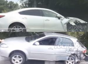 Авария двух иномарок с «запрыгиванием» на отбойник попала на видео в Ростове