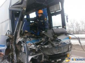 В Ростовской области пассажирский автобус столкнулся с грузовиком, пострадали два человека