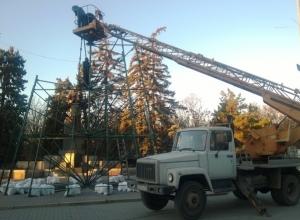 В Ростове началась установка главной новогодней елки города.Фото
