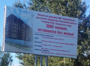 Отчаявшиеся дольщики с помощью баннера пытаются достучаться до Василия Голубева