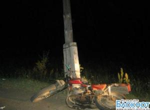 В Ростовской области погиб мотоциклист, врезавшись в столб