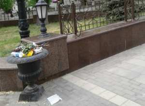 Ветер разносил кучи вонючего мусора у здания Правительства Ростовской области