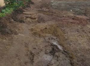 В непролазное болото превратили аккуратный двор на Портовой улице коммунальные службы в Ростове