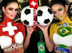 Красотка мисс ФК «Ростов» украсила грудь флагами Бразилии и Швейцарии