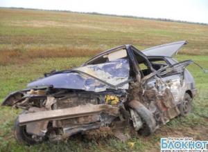 На трассе Ремонтное-Зимовники в ДТП погибли 2 человека, машина превратилась в груду металла