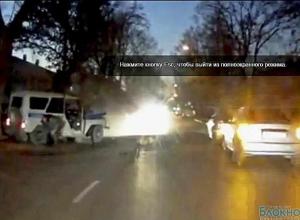 Аварию с полицейским авто в Таганроге сняли очевидцы