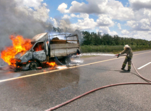 В Ростовской области на трассе М-4 «Дон» сгорела «ГАЗель»