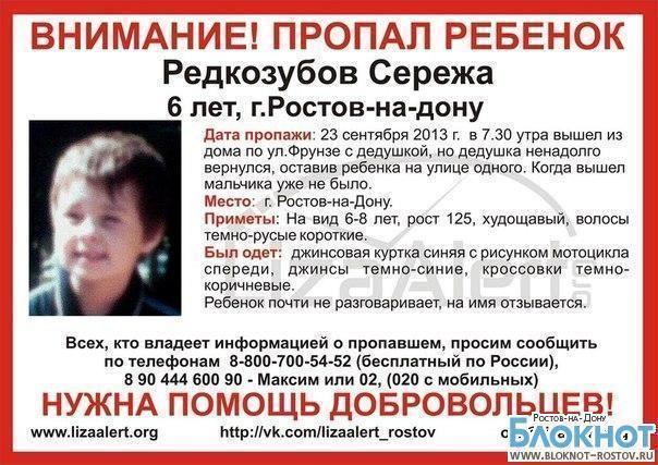В Ростове-на-Дону пропал 6-летний ребенок