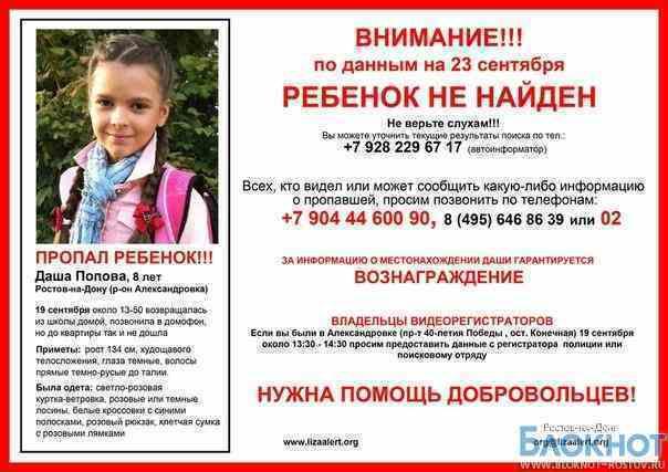 Волонтеры, разыскивающие Дашу Попову, получили смс с угрозами