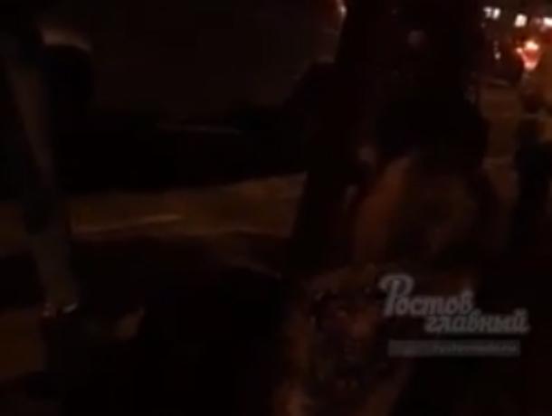 Очень пьяная женщина кидалась на прохожих и оскорбляла их матом в Ростове на видео