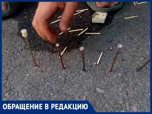 Под Ростовом неизвестные раскидали гвозди по дороге