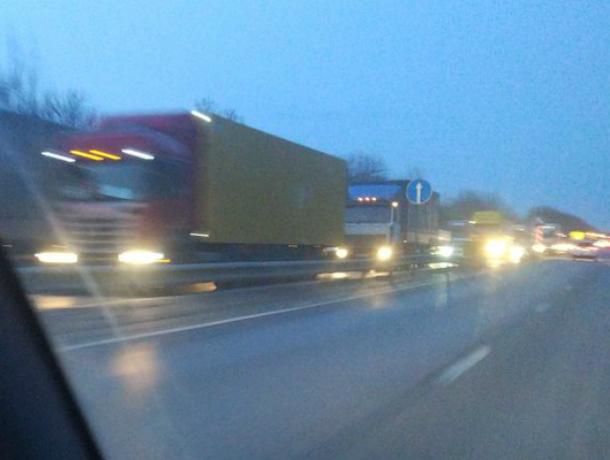 Из-за ремонта дороги натрассе М4 «Дон» образовались километровые пробки