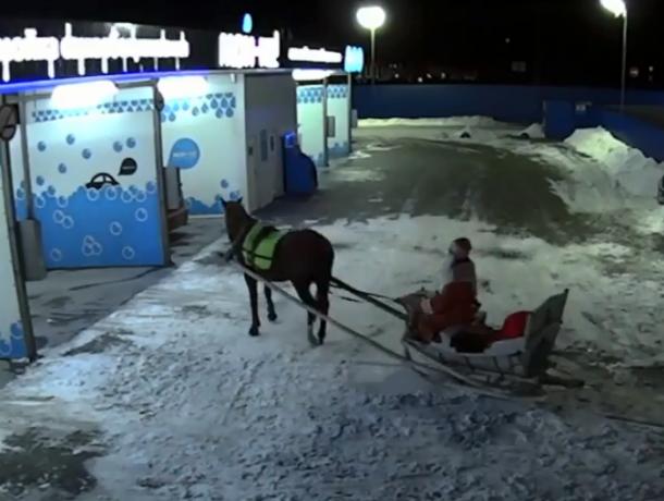 Праздник к нам приходит: в Ростове Дед Мороз приехал на автомойку и попал на видео