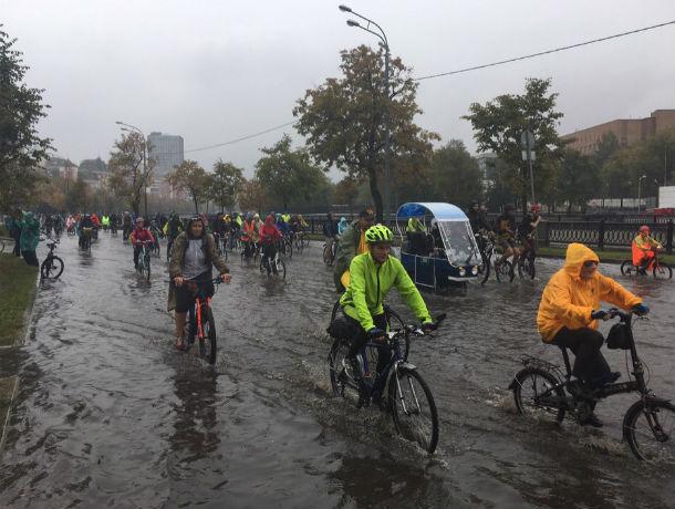 Ростовчане устроили велопарад под проливным дождем