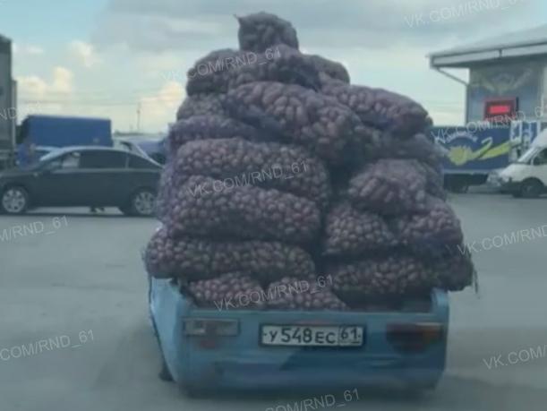 «Родственник Лукашенко» загрузил полтонны картошки в захудалую легковушку в Ростове